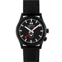 Mondaine Men's A687.30308.64SBB 'Sport' Black Dial Black Leather Strap Swiss Quartz Watch