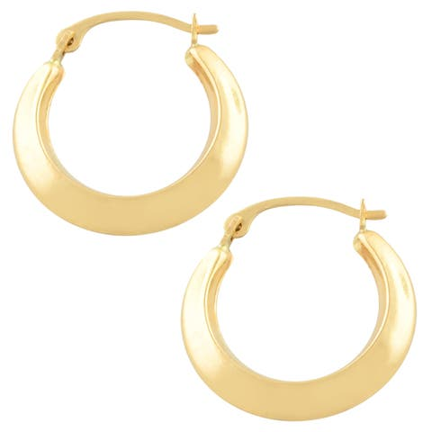 Fremada 10k Yellow Gold Edged Hoop Earrings