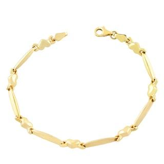 Fremada 10k Yellow Gold Bar and Heart Bracelet