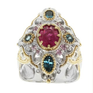 Michael Valitutti Two-tone Rubelite, Pink Tourmaline, Ruby or London Blue Topaz, Pink Sapphire Ring