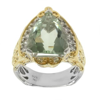 Michael Valitutti Two-tone Triangle-cut Green Amethyst and White Sapphire Ring