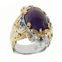 Michael Valitutti Two-tone Purple Jade and Blue Sapphire Ring