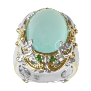 Michael Valitutti Two-tone Aqua Chalcedony and Chrome Diopside Ring