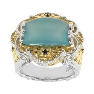 Michael Valitutti Two-tone Blue Chalcedony and Sapphire Ring