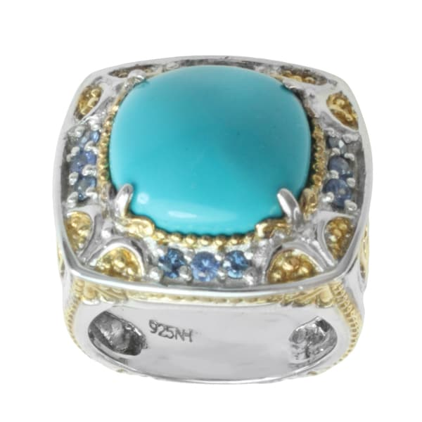 Michael Valitutti Two-tone Turquoise and Sapphire Ring