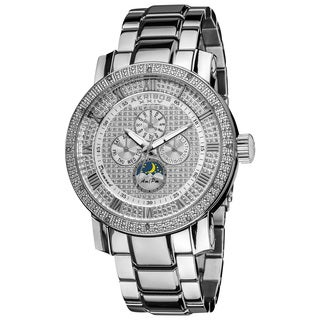 Akribos XXIV Men's Pave Dial Crystal Accent Stainless Steel Silver-Tone Bracelet Watch