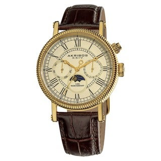 Akribos XXIV Men's Swiss Quartz Goldtone Multifunction Leather Brown Strap Watch