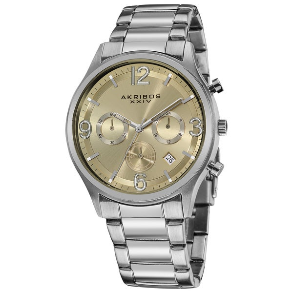 Akribos xxiv men 39 s water resistant chronograph gradient dial bracelet watch free shipping for Gradient dial watch