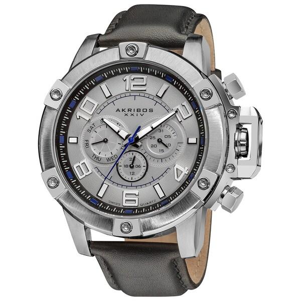 Akribos XXIV Men's Multifunction Day/Date Decorative Screws Leather White Strap Watch
