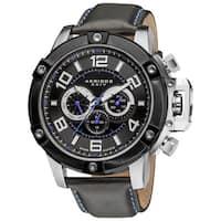 Akribos XXIV Men's Day/Date Decorative Screws Water Resistant Leather Silver-Tone Strap Watch