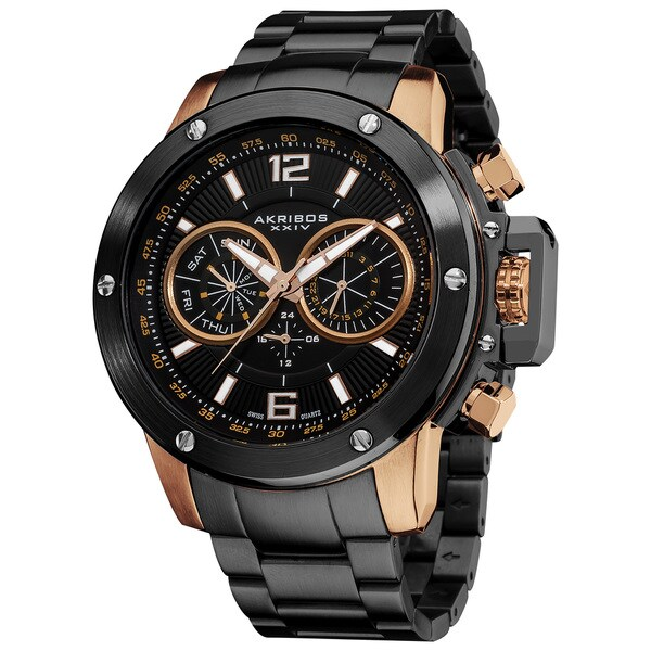 Akribos XXIV Men's Swiss Quartz Multifunction Stainless Steel Rose-Tone Bracelet Watch