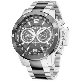 Akribos XXIV Men's Two-Tone Swiss Quartz Multifunction Stainless Steel Silver-Tone Bracelet Watch