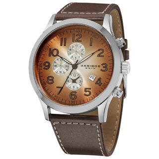 Akribos XXIV Men's Brown Arabic Numeral Gradient Dial Leather Strap Watch