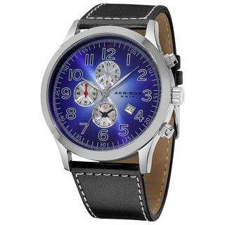 Akribos XXIV Men's Arabic Numeral Gradient Dial Leather Blue Strap Watch with Three Chronographs