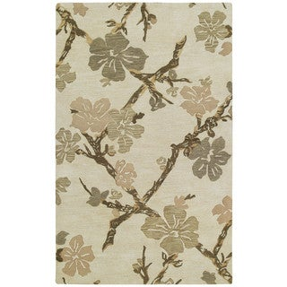 Euphoria Dogwood Sand Tufted Wool Rug (5'0 x 7'9)