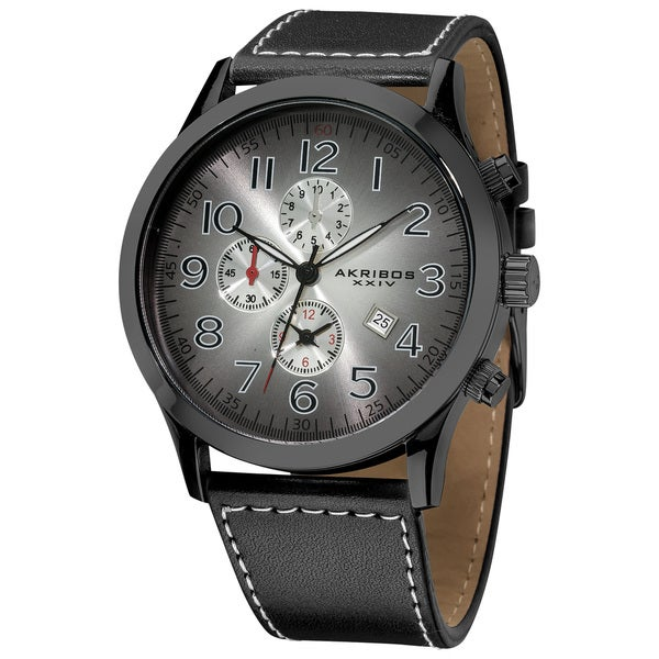 Shop akribos xxiv men 39 s arabic numeral gradient dial leather black strap water resistant watch for Gradient dial watch