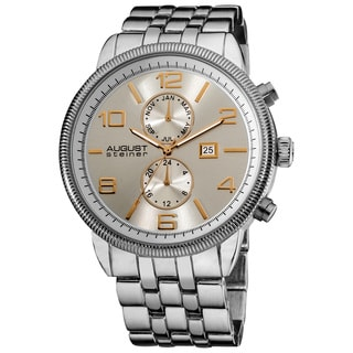 August Steiner Men's Swiss Quartz Coin-edge Bezel Silver-Tone Bracelet Multifunction Watch