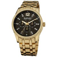 August Steiner Men's Crystal Markers Sunray Black Dial Gold-Tone Bracelet Watch