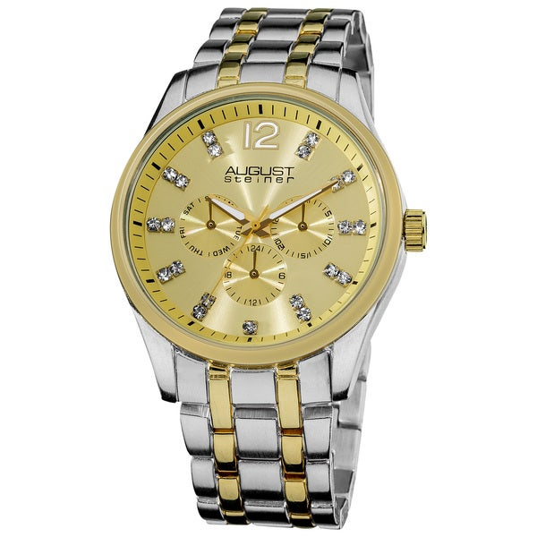 August Steiner Men's Crystal Markers Sunray Goldtone Dial Bracelet Watch