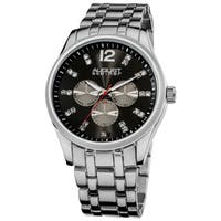 August Steiner Men's Crystal Markers Sunray Dial Silver-Tone Bracelet Watch