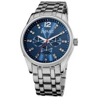 August Steiner Men's Crystal Markers Sunray Dial Blue Bracelet Watch