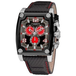 Akribos XXIV Men's Water-resistant Chronograph Red Subdial Leather-Black Strap Watch