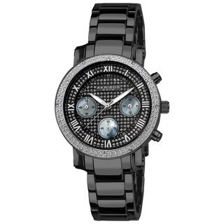 Akribos XXIV Women's Stainless Steel Diamond Chronograph Black Bracelet Watch