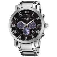 Akribos XXIV Men's Chronograph Black Dial Stainless Steel Silver-Tone Bracelet Watch
