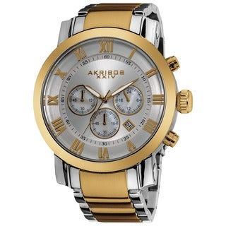 Akribos XXIV Men's Chronograph Roman Numeral Stainless Steel Goldtone Bracelet Watch with FREE GIFT