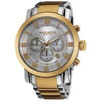 Akribos XXIV Men's Chronograph Roman Numeral Stainless Steel Goldtone Bracelet Watch