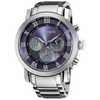 Akribos XXIV Men's Stainless Steel Chronograph Mother of Pearl Subdial Blue Watch