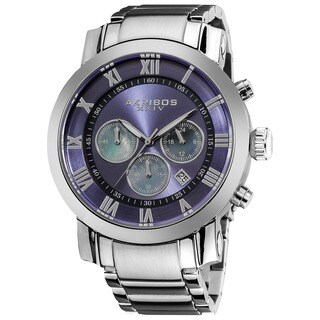 Akribos XXIV Men's Stainless Steel Chronograph Mother of Pearl Subdial Blue Watch with FREE GIFT|https://ak1.ostkcdn.com/images/products/8330645/P15643239.jpg?_ostk_perf_=percv&impolicy=medium