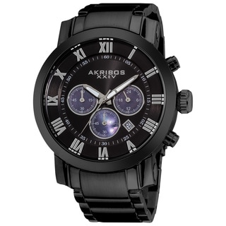 Akribos XXIV Men's Chronograph Roman Numeral Stainless Steel Black Bracelet Watch
