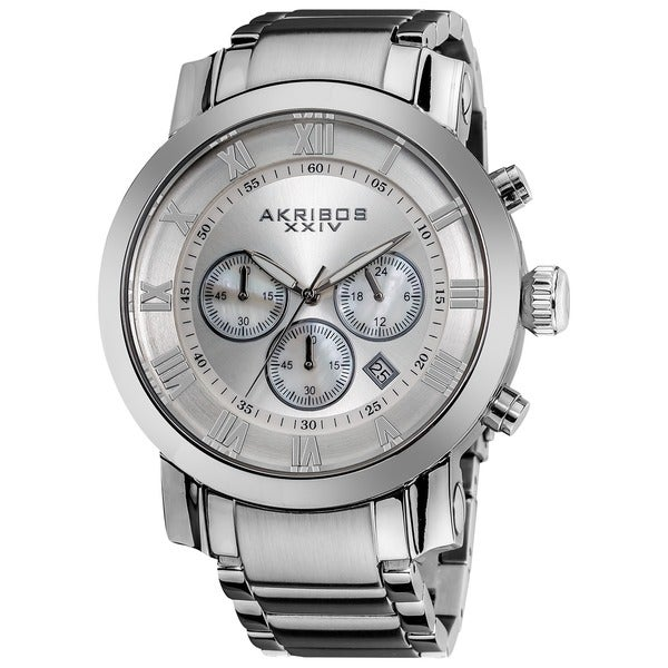 Akribos XXIV Men's Chronograph Roman Numeral Stainless Steel Silvertone Bracelet Watch with Gift Box