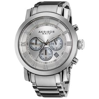 Akribos XXIV Men's Chronograph Roman Numeral Stainless Steel Silvertone Bracelet Watch with FREE GIFT|https://ak1.ostkcdn.com/images/products/8330648/P15643241.jpg?impolicy=medium