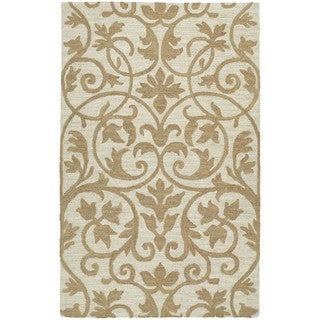 Zoe Scroll Oatmeal Hand Tufted Wool Rug (9'0 x 12'0)