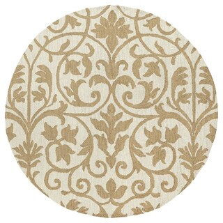 Zoe Scroll Oatmeal Hand Tufted Wool Rug (7'9 Round)