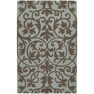 Zoe Scroll Blue Hand Tufted Wool Rug (3'0 x 5'0)