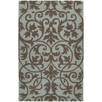 Zoe Scroll Blue Hand Tufted Wool Rug - 5' x 7'9
