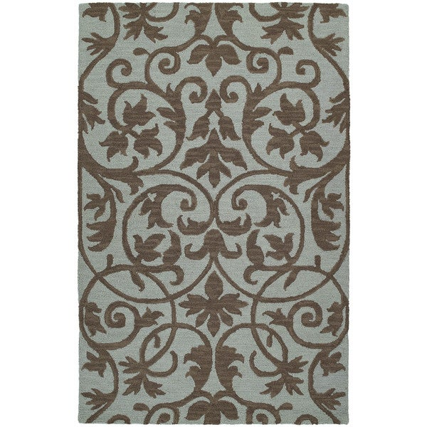 Zoe Scroll Blue Hand Tufted Wool Rug (5'0 x 7'9)
