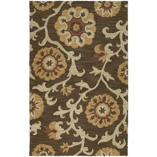 Zoe Brown Suzani Hand Tufted Wool Rug (8'0 x 10'0)