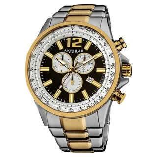 Akribos XXIV Men's Two-tone Swiss Quartz Chronograph Tachymeter Stainless Steel Watch with Gift Box