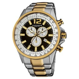 Akribos XXIV Men's Two-tone Swiss Quartz Chronograph Tachymeter Stainless Steel Watch with FREE GIFT|https://ak1.ostkcdn.com/images/products/8330671/P15643242.jpg?impolicy=medium