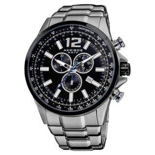 Akribos XXIV Men's Water-resistant Swiss Quartz Chronograph Tachymeter Stainless Steel Silver-Tone Bracelet Watch