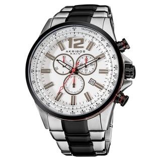Akribos XXIV Men's Two-Tone Swiss Quartz Chronograph Tachymeter Stainless Steel Silver-Tone Bracelet Watch