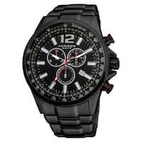 Akribos XXIV Men's Black Swiss Quartz Chronograph Tachymeter Stainless Steel Bracelet Watch