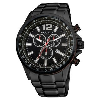 Akribos XXIV Men's Black Swiss Quartz Chronograph Tachymeter Stainless Steel Bracelet Watch
