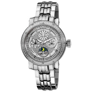 Akribos XXIV Women's Diamond Stainless Steel Silver-Tone Bracelet Watch with FREE GIFT