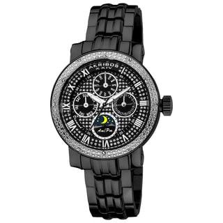 Akribos XXIV Ladies' Diamond Black Multifunction Stainless Steel Bracelet Watch with FREE GIFT