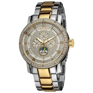 Akribos XXIV Men's Pave Dial Multifunction SilverTone Stainless Steel Bracelet Watch